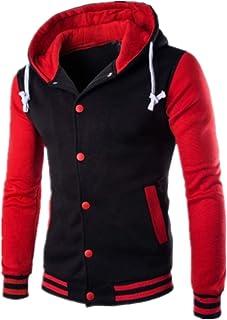Mens Hoodie Baseball Jacket Varsity Baseball Jacket Long Sleeve Baseball Jacket Hoodie Sweatshirt Outdoors Sports Workout ...