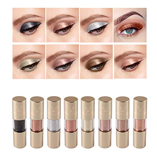 Metallic Shimmer Liquid Eyeliner Set, 8 Colors Glitter Metal Waterproof Liquid Eyeshadow Pencil Set
