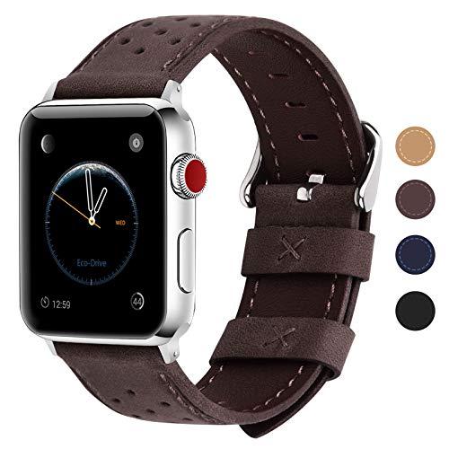 Fullmosa Breeze Correa Cuero, 8 Colores Correa Adecuado para Apple Watch SE/iWatch Serie 6 5 4 3 2 1, Hermes, Nike, Edition, 42mm/44mm, Negro