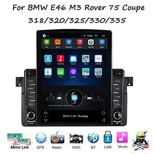 HBWZ Android Car Stereo Radio Double DIN Sat Nav para BMW E46 M3 Rover 75 Coupe 318/320 Navegación GPS Pantalla táctil Vertical Unidad Principal Reproductor Multimedia Receptor de Video