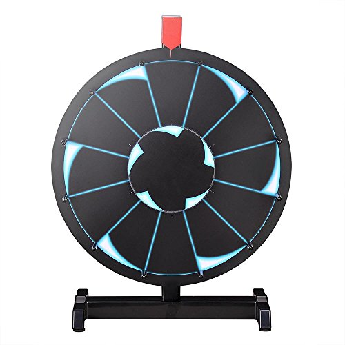 """WinSpin 15"""" Tabletop Editable Prize Wheel 12 Slot Spinning Game with Dry Erase Tradeshow Carnival Black"""