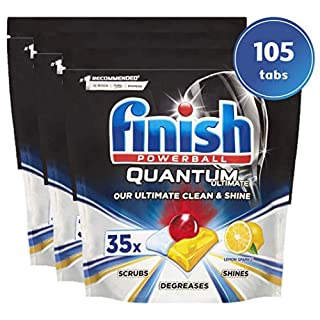 Finish Quantum Ultimate Dishwasher Tablets, Lemon - 105 Tabs (3 Packs x 35 Tabs Per Pack) (B07MM5J1TB) | Amazon price tracker / tracking, Amazon price history charts, Amazon price watches, Amazon price drop alerts