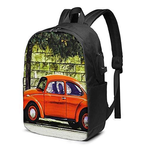 School Bag Back Pack,Laptop Backpack with USB Port Old Classic Orange Beetle Car, Business Travel Bag, College School Computer Rucksack Bag for Men Women 17 Inch Laptop Notebook