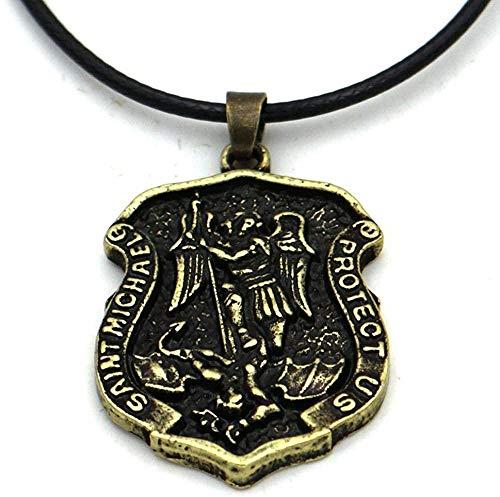 Xianglsp Co.,ltd Nostalgie Erzengel töten Drachenschild Beschütze Uns Amulett Talisman GebetsmedailleHalsketteLänge 60Cm