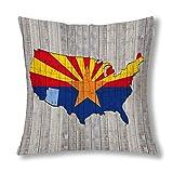Kinhevao Bandera del Estado de Arizona con el Mapa de América sobre Fondo de Madera Cojín, cojín con Cremallera para la decoración del sofá del Dormitorio