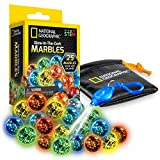 NATIONAL GEOGRAPHIC Marbles Refill Pack – 25 Glass Marbles That Glow in The Dark, Includes Storage Pouch & UV Keychain Light, Marble Runs for Kids, Building Toys, Science Toys