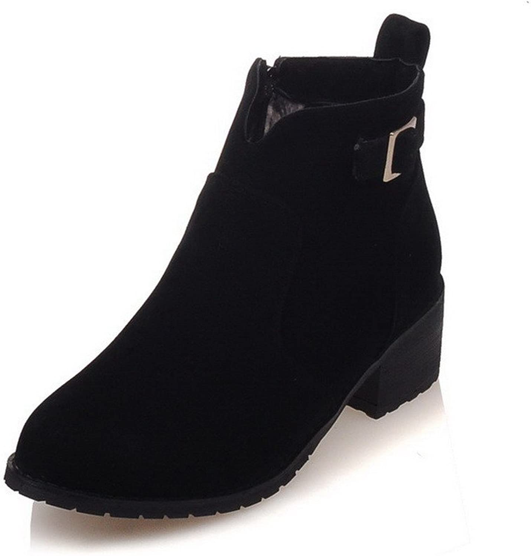 AllhqFashion Women's Imitated Suede Ankle-high Solid Zipper Kitten-Heels Boots