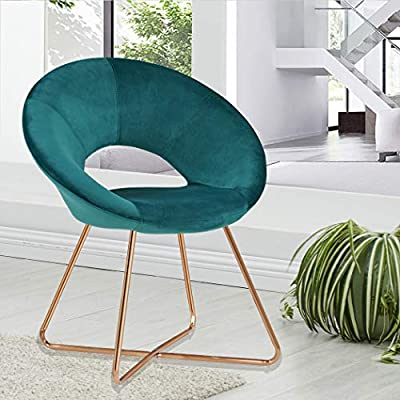 Duhome Modern Velvet Accent Chairs Upholstered Vanity Chairs Make-up Stool Home Office Guest Reception Chair Arm Leisure Chairs Dining Chair with Golden Legs Mid-Back for Living Room 1 pcs Atrovirens