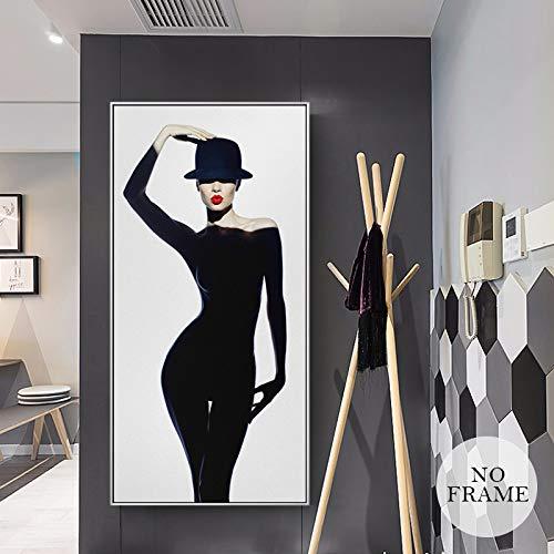 Hermosa mujer con vestido negro Lienzo Pintura Modelo de sexo Carteles e impresiones Arte Imágenes de pared para sala de estar