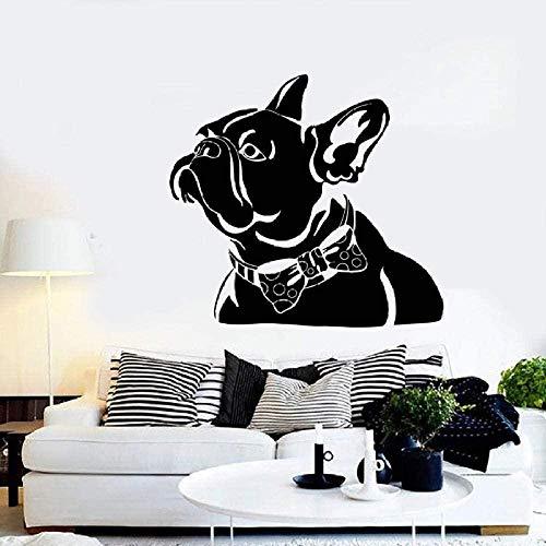 Adesivi murali in vinile Decorazione murale Decalcomanie fai da te Pet Shop Muro Astratto Bulldog francese Pet Papillon Tema animale Camera da letto Finestra Arte M32545Cm × 65Cm