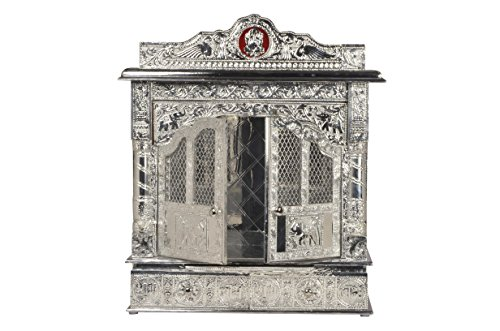 Desi Bazar Pure Silver Mandir Home Pooja Temple/Mandap/ Altar (Indian Puja Mandir for Home) - 22 Inches