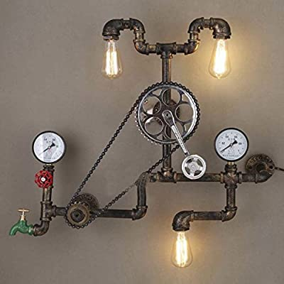 "Industrial Retro Vintage Style Farmhouse Industry Steam Punk Wall Sconce - LITFAD 29.13"" Antique Bronze Three Light Water Pipe Wall Light with Bicycle Shape"