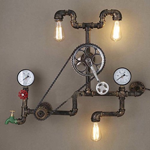 Lámpara de pared industrial de estilo retro vintage con forma de bicicleta y tres luces de bronce envejecido