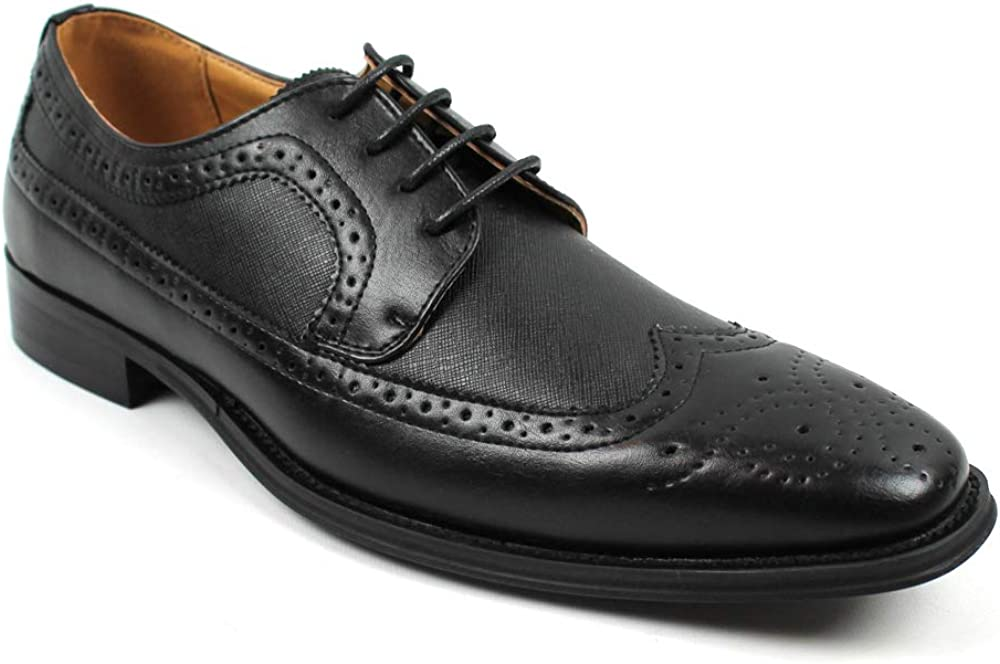 Men's Lace Up Dress Shoes Oxfords Wing Tip Herringbone Formal C-386