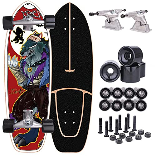 Carver Surfskate Skateboard for Beginners Adults Complete Maple Wood Deck Carving Pumping Skateboard Longboard 75×23cm CX4 Truck Cruiser Skateboard, ABEC-9 Bearings
