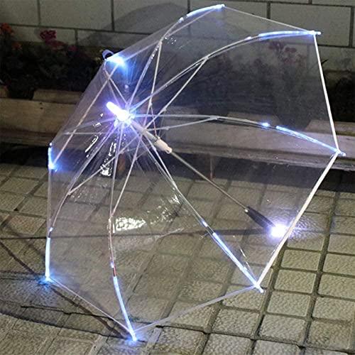 lqgpsx Paraguas Que Cambia de Color Paraguas LED de Cambio de Color con Linterna Mango Transparente Paraguas Recto Sombrilla