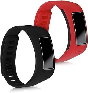 kwmobile 2X Pulsera Compatible con Garmin Vivofit - Brazalete de Silicona en Rojo/Negro sin Fitness Tracker