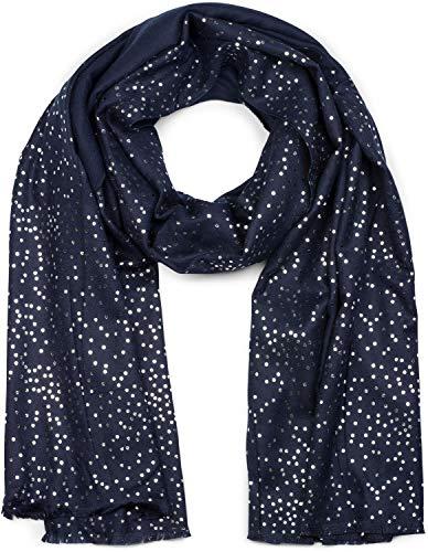 styleBREAKER Damen Schal mit Metallic Punkte Tupfen Muster, Stola, Tuch 01017081, Farbe:Dunkelblau