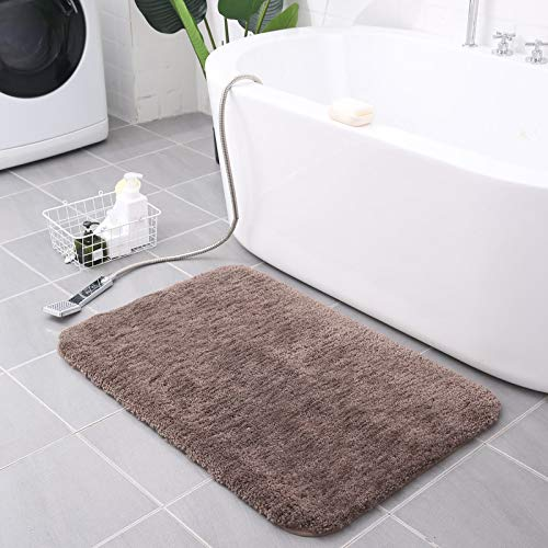 "Kameng Bathroom Rug Non Slip Bath Mat Non-Slip Rubber Microfiber Soft Water Absorbent Thick Shaggy Floor Mats,Machine Washable, Sand, 32""x20"""