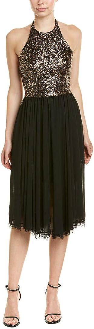Dress the Population Women's Tatiana Sequin Halter Fit & Flare Midi Dress, Antique Gold/Black, xs