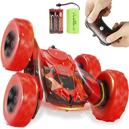 DoDoMagxanadu RC Car Remote Control Stunt Car, 4WD 2.4Ghz Remote Control Car Toy Double Sided Rotating Vehicles 360 Flips, Kids Toy Cars for Boys & Girls Birthday (Red)