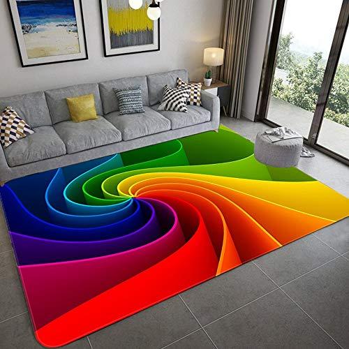 LILONGXI Teppich,Modern Soft Soft Rainbow Gate Dekorative Anti-Rutsch-Zusammenfassung Druckmuster Teppich Geometrie Klassisches Wohnzimmer Schlafzimmer Kinder Krabbeln Teppich Studie Couchtisch Home