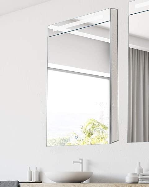 Bathroom Medicine Cabinet Aluminum Recessed Surface Mount 20 X 40 Right Hinged Mirrored Interior W LED