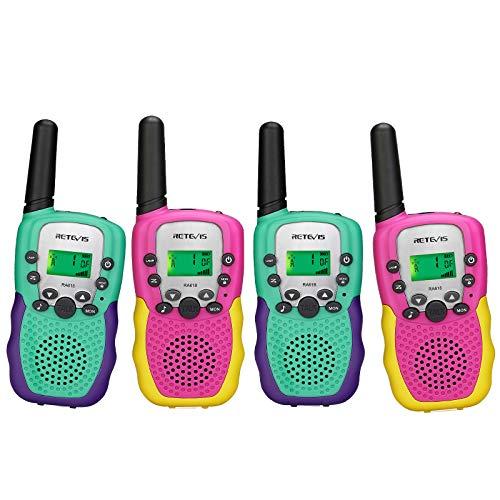 Retevis RA618 Walkie Talkie para Niños, Juguetes para Niños de 3 a 12 Años, 8 Canales con Linterna LCD VOX Portátil, para Aventuras, Camping, Senderismo (4 Piezas, Rosa y Cian)