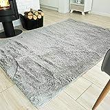 TAPISO Silk Alfombra de Salón Comedor Dormitorio Juvenil Diseño Moderno Gris Claro Antideslizante Shaggy 140 x 200 cm