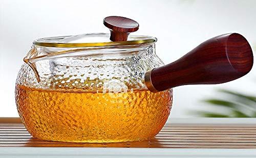 JZLMF Seitengriff-Teekanne Mit Holzgriff, Hitzebeständigem Glas, Kung-Fu-Teeservice, Hitzebeständige Haushalts-Hammerholz-Teekanne (380 Ml Plus 2 Tassen)