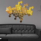 BLOUR 12 unids/Set Hexagonal 3D Espejo Pegatinas de Pared Restaurante Pasillo Piso Personalidad Decorativo Espejo Pasta Pegatina para Sala de Estar # 45