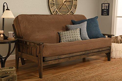 Kodiak Furniture Tucson Full Size Futon Set In Rustic Walnut Finish, Marmont Mocha