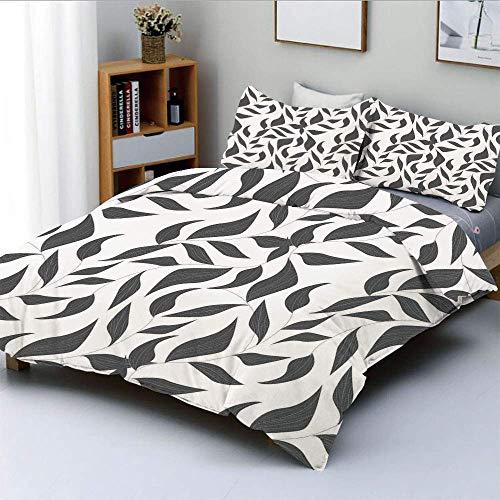 Juego de funda nórdica, patrón abstracto de hojas en enredaderas Naturaleza moderna con formas de línea orgánica Imprimir Juego de cama decorativo de 3 piezas con 2 fundas de almohada, gris y blanco,