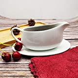 1 Pack Porcelain Gravy Boat and Ceramic Tray, 8 oz Easy Pour White Gravy Boat with Saucer Stand for Salad Dressings, Milk,Broth, Creamer Microwave & Dishwasher Safe (1PC 240ML)