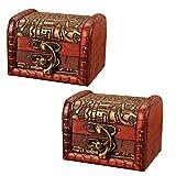 OBTANIM Vintage Small Jewelry Boxes, 3 Inch Handmade Wooden Storage Box with Metal Lock Treasure Organizer Gift Box, Set of 2