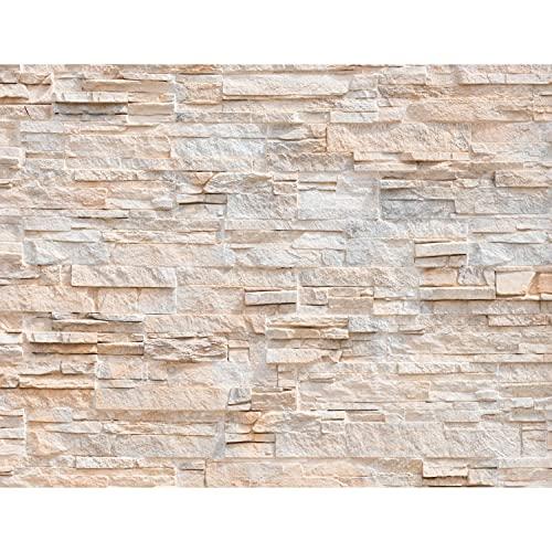 Fototapeten 396 x 280 cm Steinwand 3D Effekt | Vlies Wanddekoration Wohnzimmer Schlafzimmer | Deutsche Manufaktur | Beige 9082012a