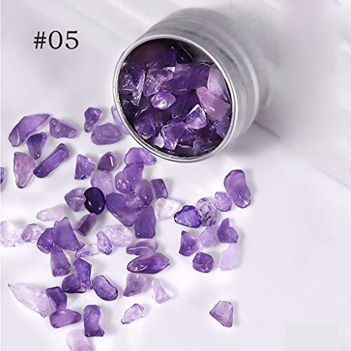 GROOMY Nail Art Zubehör, 1 Box Crystal Natursteine Unregelmäßige Crushes Stones Bunter Nail Art Dekor-Amethyst Stein 05