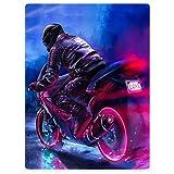 HommomH Motorcycle Blanket Heavy Locomotive Fleece Throw 40'x50' Blanket for Bed or Sofa