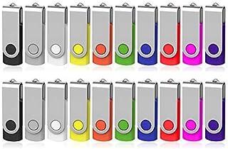 AreTop 128MB Flash Drives 20 Pack, Premium USB2.0 Swivel USB 20 Pack Flash Drives 128MB Memory Stick Thumb Drive Bulk Jump Drive Pendrive (20Pack 128MB, MixColors)