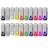 Bulk USB Flash Drive 1GB 20 Pack, AreTop USB2.0 Pendrive Jump Drive Memory Stick Swivel Bulk Thumb Drives USB Storage ( 20PCS 1GB, Multicolors )