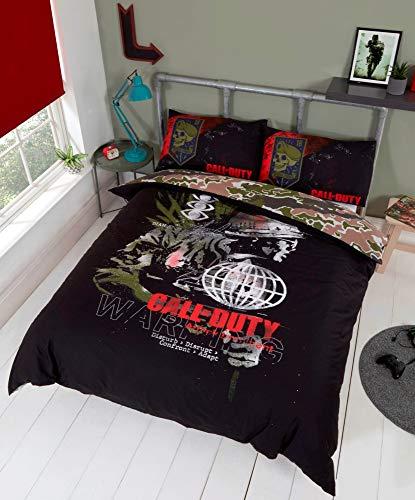 Call of Duty Black Ops Cold War - Juego de funda de edredón y funda de almohada para cama doble
