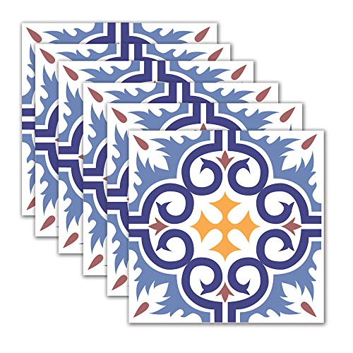 DNVEN 7.8 inches x 7.8 inches 6pc Tile Stickers Blue Flower Patter Kitchen Backsplash Bathroom Vinyl Waterproof Peel and Stick Decals