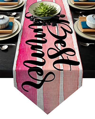 Pink Line Table Runner, Monogram Best Summer Patterned Table Cover for Parties, Christmas & Holidays, Machine Washable Polyester, Extra Long 13 x 90(33 x 229cm)