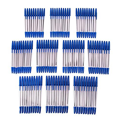 SIDCO Kugelschreiber 100 x Schreiber Kuli blau + Schutzkappe Blaue Schreibstift Mine