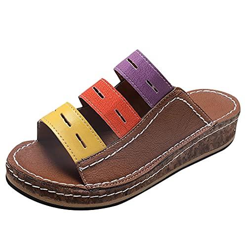 Sandalias de plataforma para mujer, sandalias casuales para mujer con soporte de arco, correas de lazo con puntera abierta, sandalias ligeras al aire libre, color Marrón, talla 40.5 EU