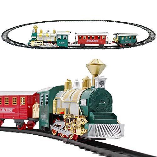 deAO Treno Classico con Luci e Suoni Set Natalizio di Binari, Locomotiva e 2 Carri Treno di Gioco Elettronico per Bambini Decorazioni Natalizie (ROSSO o VERDE)