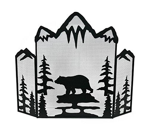 Mountain Bear nero rete metallica 3panel Fireplace Screen