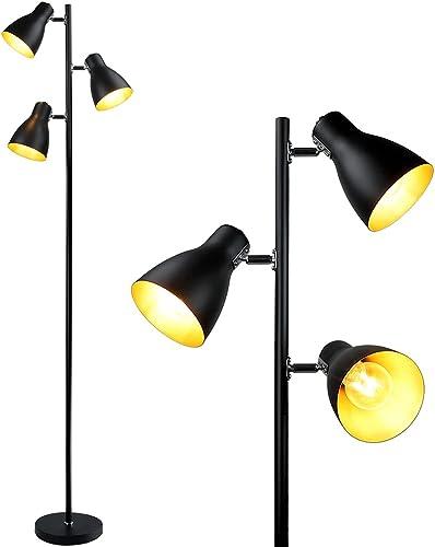 new arrival DLLT 3-Light LED Tree Floor Lamp, Modern Black Metal Corner Tall Pole Lamp, Standing Reading Light with 3 Adjustable Lamp Shades for Bedroom popular Living Room Home Office, (E26 Base, sale Bulbs Included) online