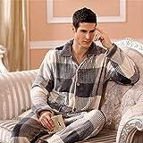 Home + Schlafanzug Winter Pyjamas Für Männer Dick Flanell Nachtwäsche Anzug 2...