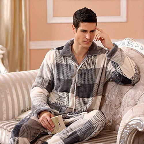 Home + Schlafanzug Winter Pyjamas Für Männer Dick Flanell Nachtwäsche Anzug 2 Stück Pyjama Homme Warm Casual Home Clothing @ 991946_XXL
